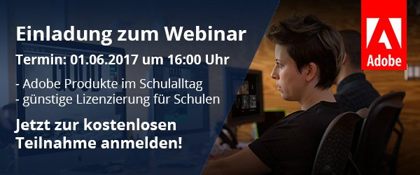 Einladung zum Adobe Webinar am 01.06.2017 um 16:00 Uhr