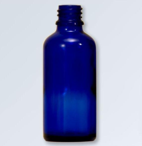 Blauwglas fles 100 ml., DIN 18 (zonder dop)