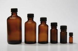 Bruinglas flesje 50 ml., DIN 18 (zonder dop)