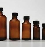 Bruinglas flesje 100 ml., DIN 18 (zonder dop)