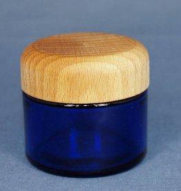 glazen pot blauw 50 ml. houten deksel