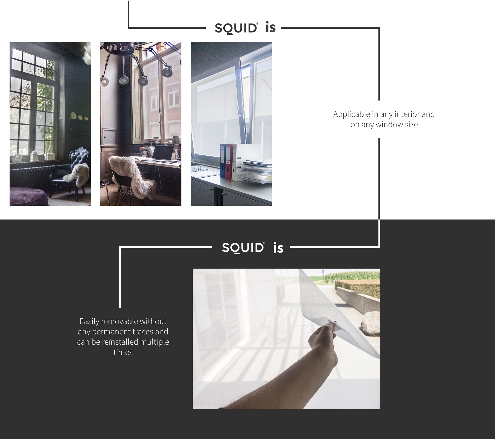 Squid is applicable in any interior and on any window size Squid is easily removable without any permanent traces and can be reinstalled multiple times