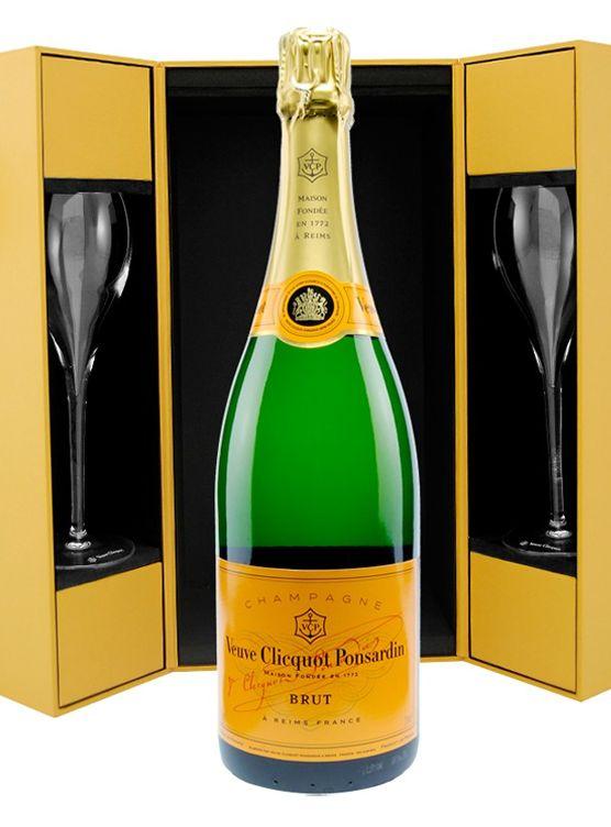 veuve clicquot ponsardin brut luxe coffret 2 flutes 75cl club champagne. Black Bedroom Furniture Sets. Home Design Ideas