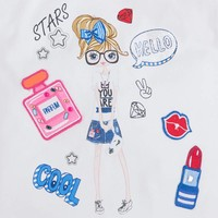 T-shirt met open schouder & glitter
