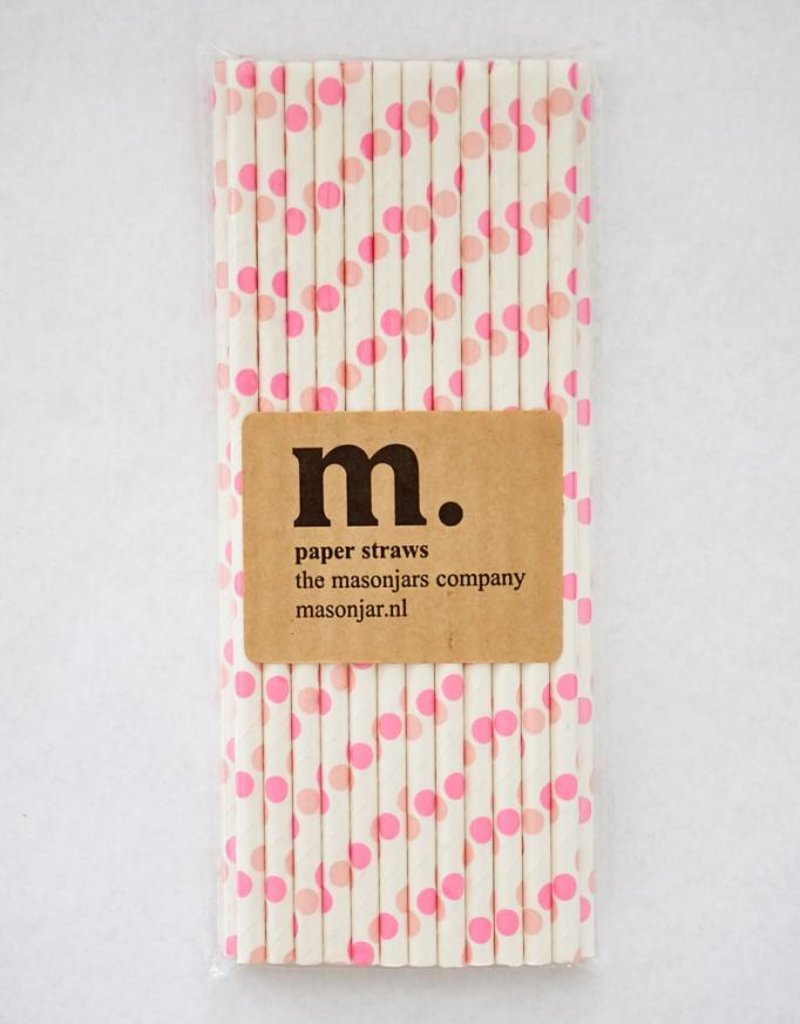 Masonjar Label 007 Papieren rietjes Pink Dot