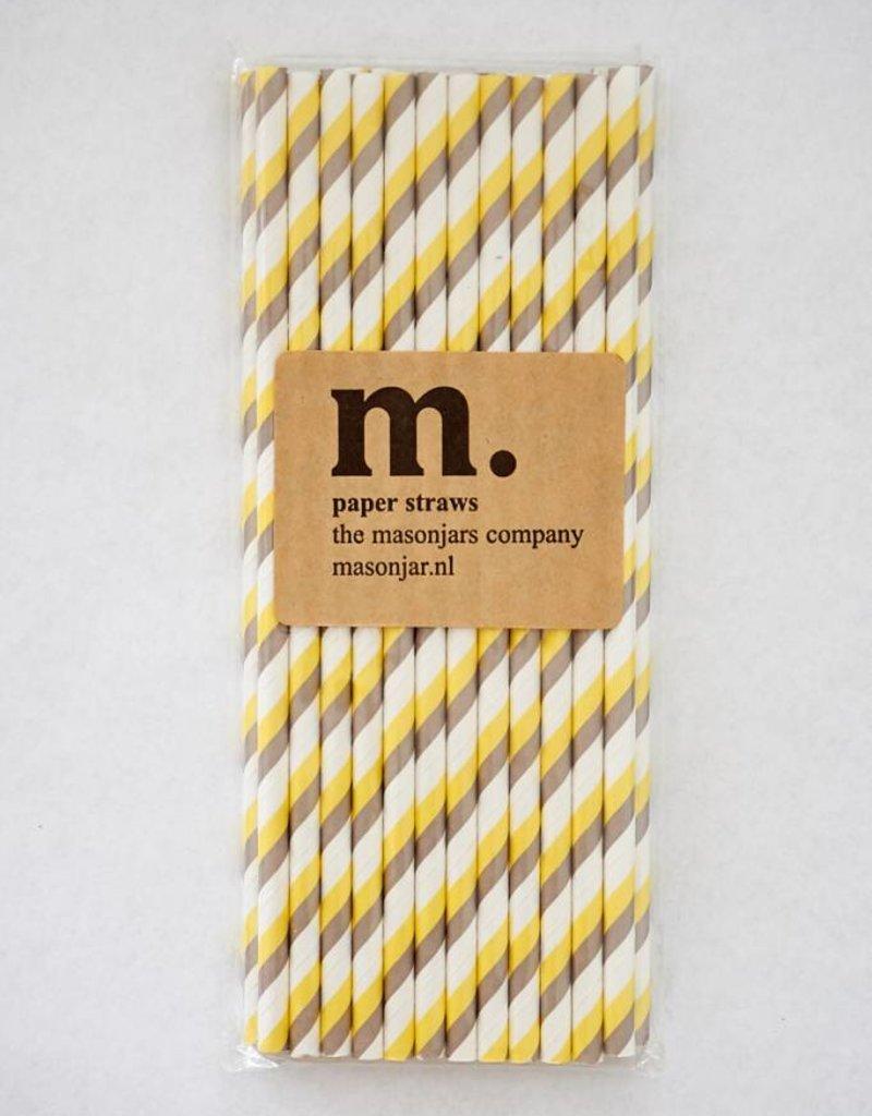 Masonjar Label 009 Papieren rietjes Yellow/Grey Stripe