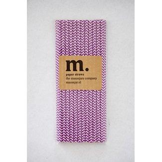 Masonjar Label 011 Papieren rietjes Purple Chevron