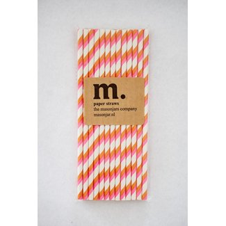 Masonjar Label 017 Papieren rietjes Pink and Orange Stripe