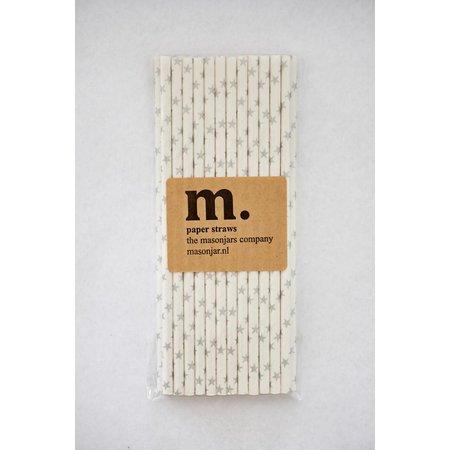 Masonjar Label 021 Papieren rietjes Silver Stars