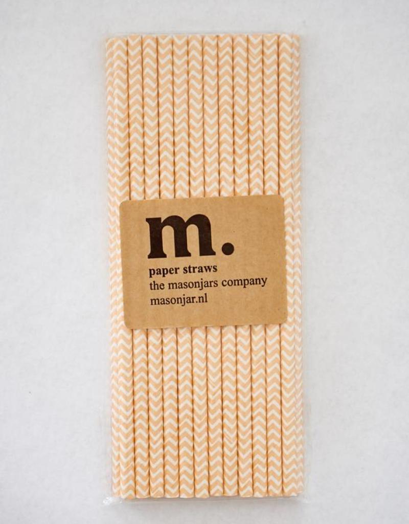 Masonjar Label 022 Papieren rietjes Light Orange Chevron