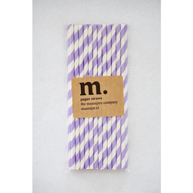 Masonjar Label 032 Papieren rietjes Purple Stripe
