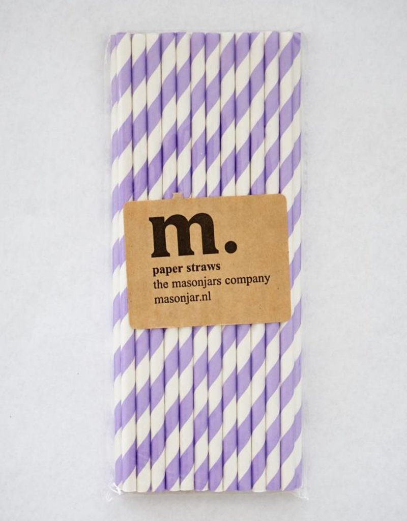 Masonjar Label 032 Papieren rietjes Purple Stripe