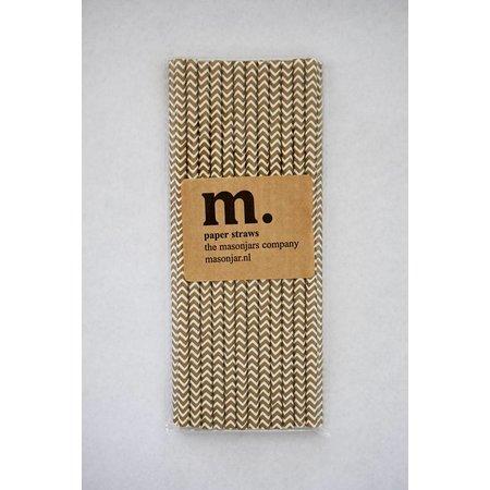 Masonjar Label 036 Papieren rietjes Golden Chevron
