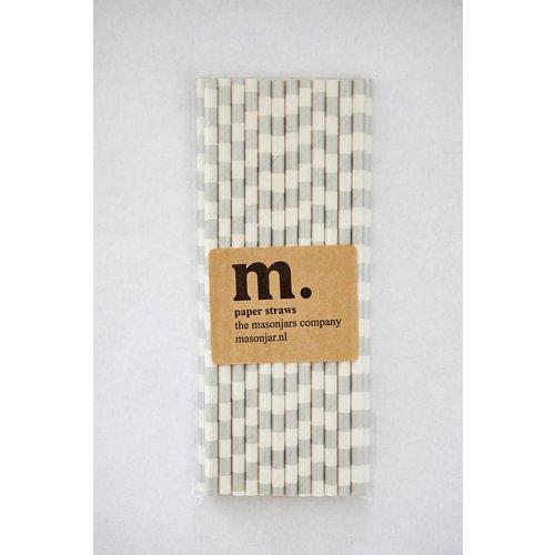 Masonjar Label 039 Papieren rietjes Silver Stripe Horizontal
