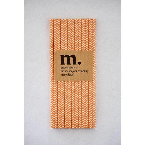 Masonjar Label 040 Papieren rietjes Dark Orange Chevron