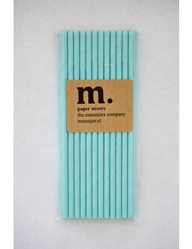 Masonjar Label 042 Papieren rietjes Plain Light Blue