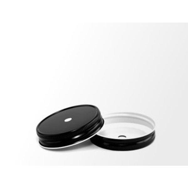 Mason Jar regular straw hole lid black