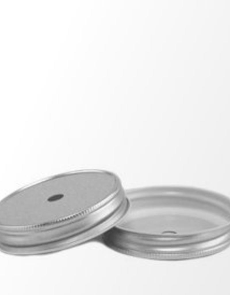 Masonjar Mason Jar regular straw hole lid silver