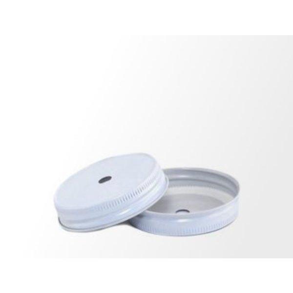 Mason Jar regular straw lid hole white