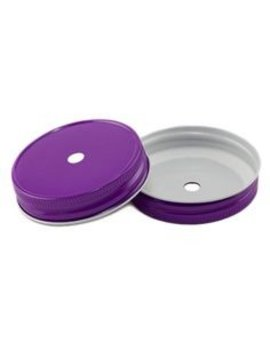 Masonjar Mason Jar regular straw deksel purple