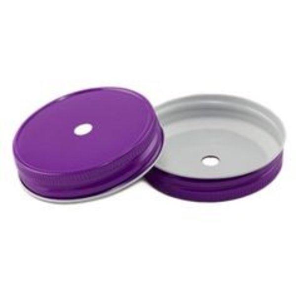 Mason Jar regular straw hole lid purple