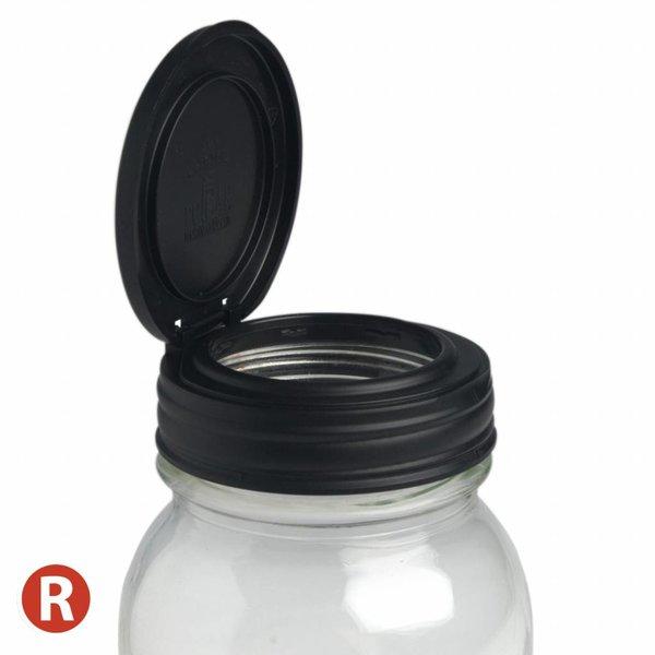 reCAP Mason Jar FLIP- Regular Mouth BLACK