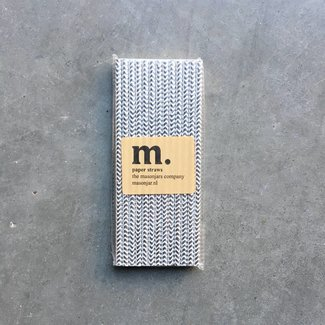 Masonjar Label 047 Paper straws Silver Chevron Folie