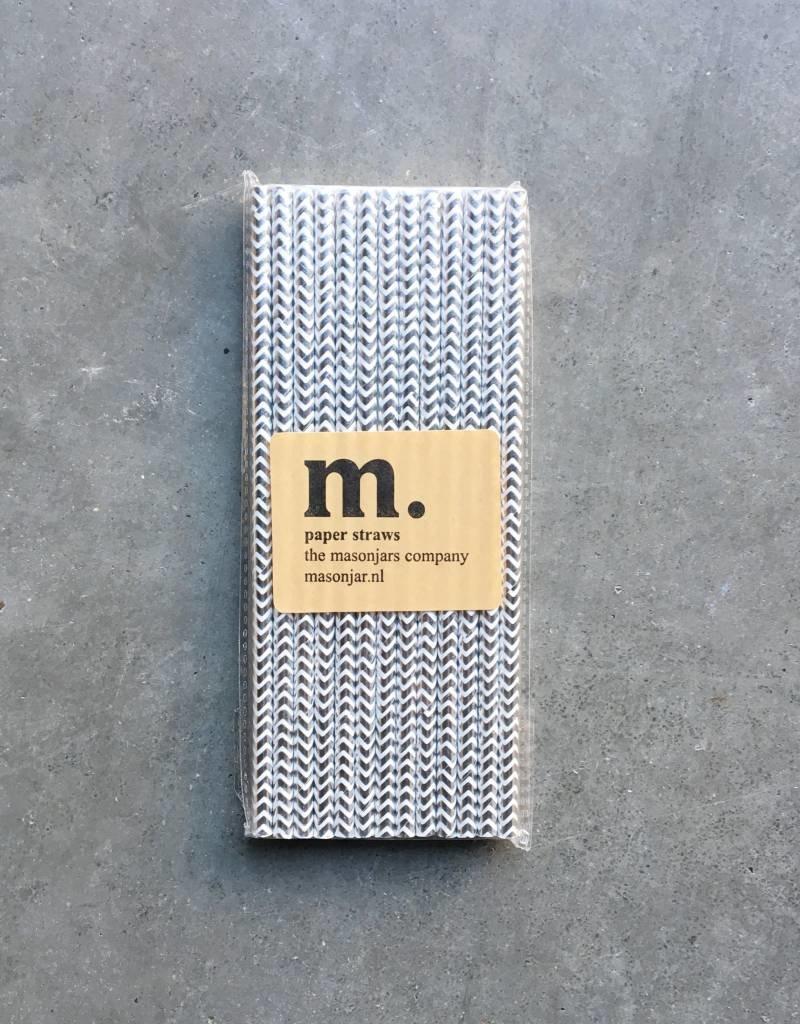 Masonjar Label 047 Paper straws Silver Chevron