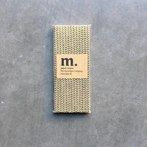 Masonjar Label 048 Paper straws Golden Chevron Folie