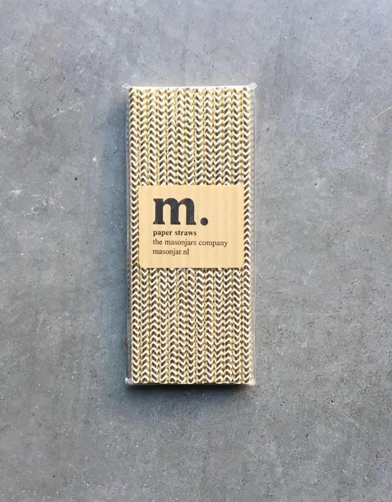 Masonjar Label 048 Paper straws Golden Chevron