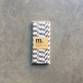 Masonjar Label 051 Paper Straws Silver stripe Folie