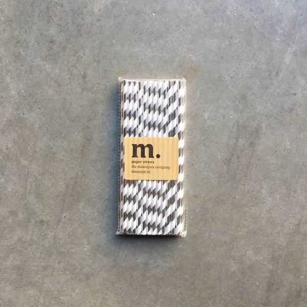 051 Papieren rietjes Silver stripe Folie