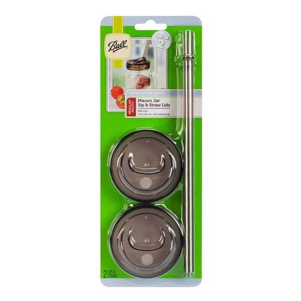 BALL® 1-PIECE, regular mouth sip & straw lids, 2 count