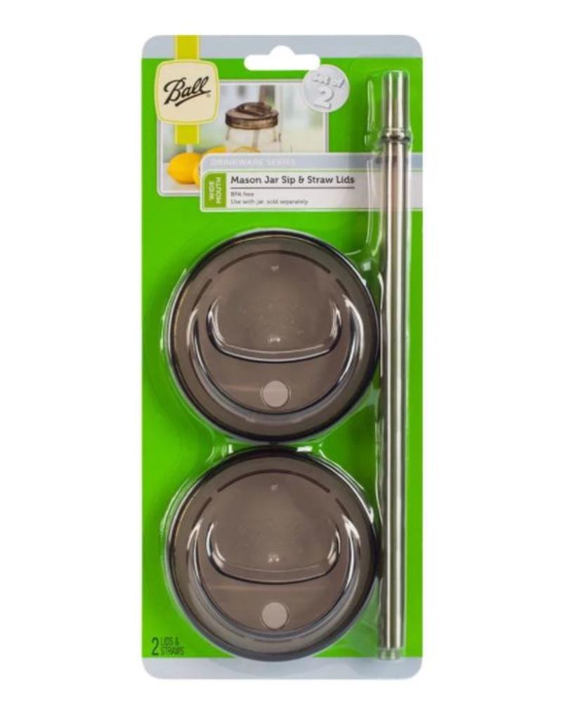 Ball BALL® 1-PIECE, wide mouth sip & straw lids, 2 stuks