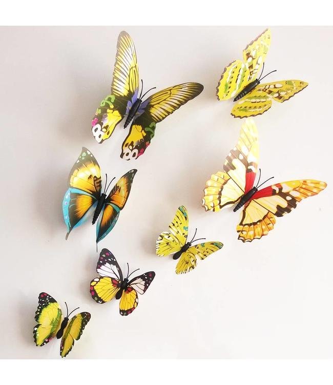 3D vlinders geel meerkleurig