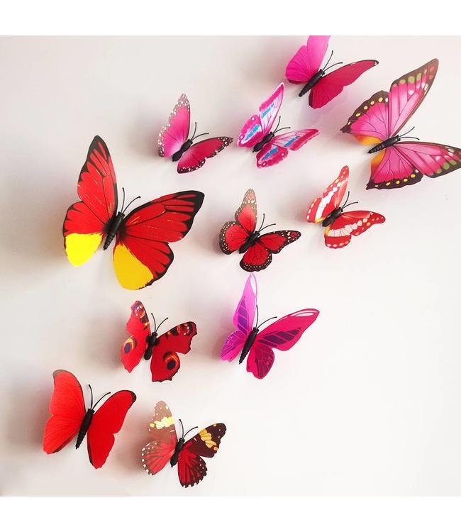3D vlinders rood meerkleurig