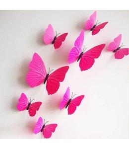 3D vlinders fuchsia