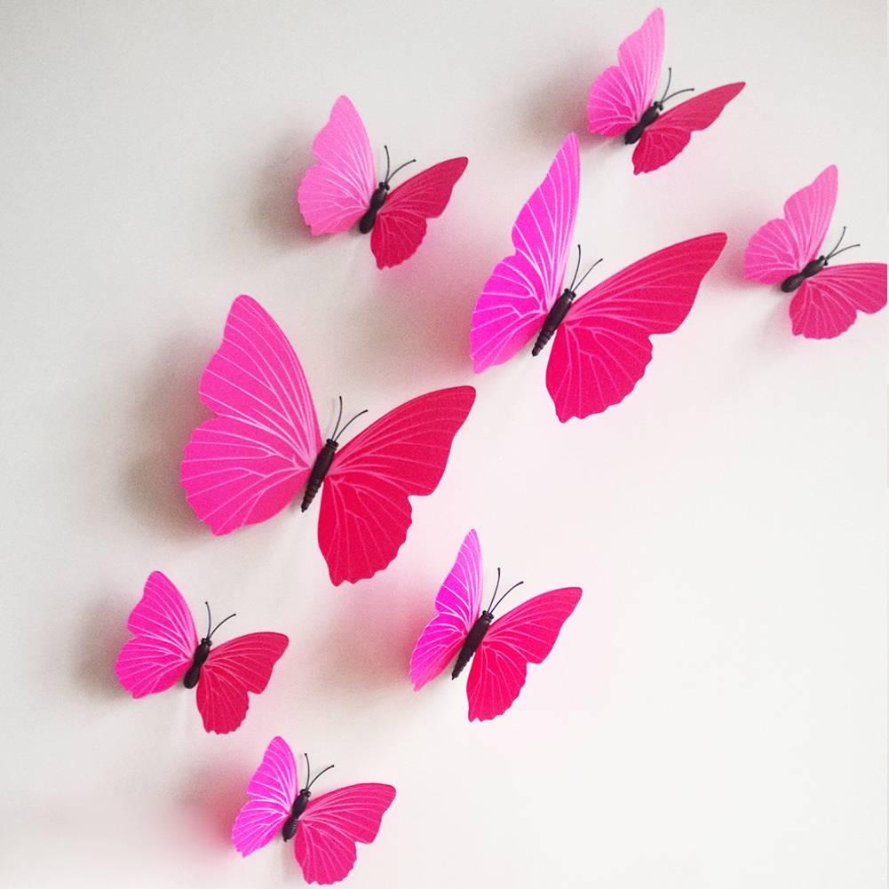 3d Vlinders Fuchsia Muurstickers Amp Zo