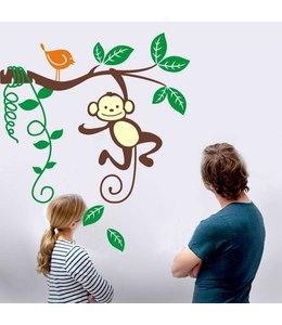 Muursticker jungle aapje in tak