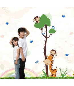 Muursticker groeimeter Giraffe, aapjes, boom