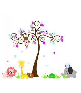Muursticker sierlijke boom aap uil dieren