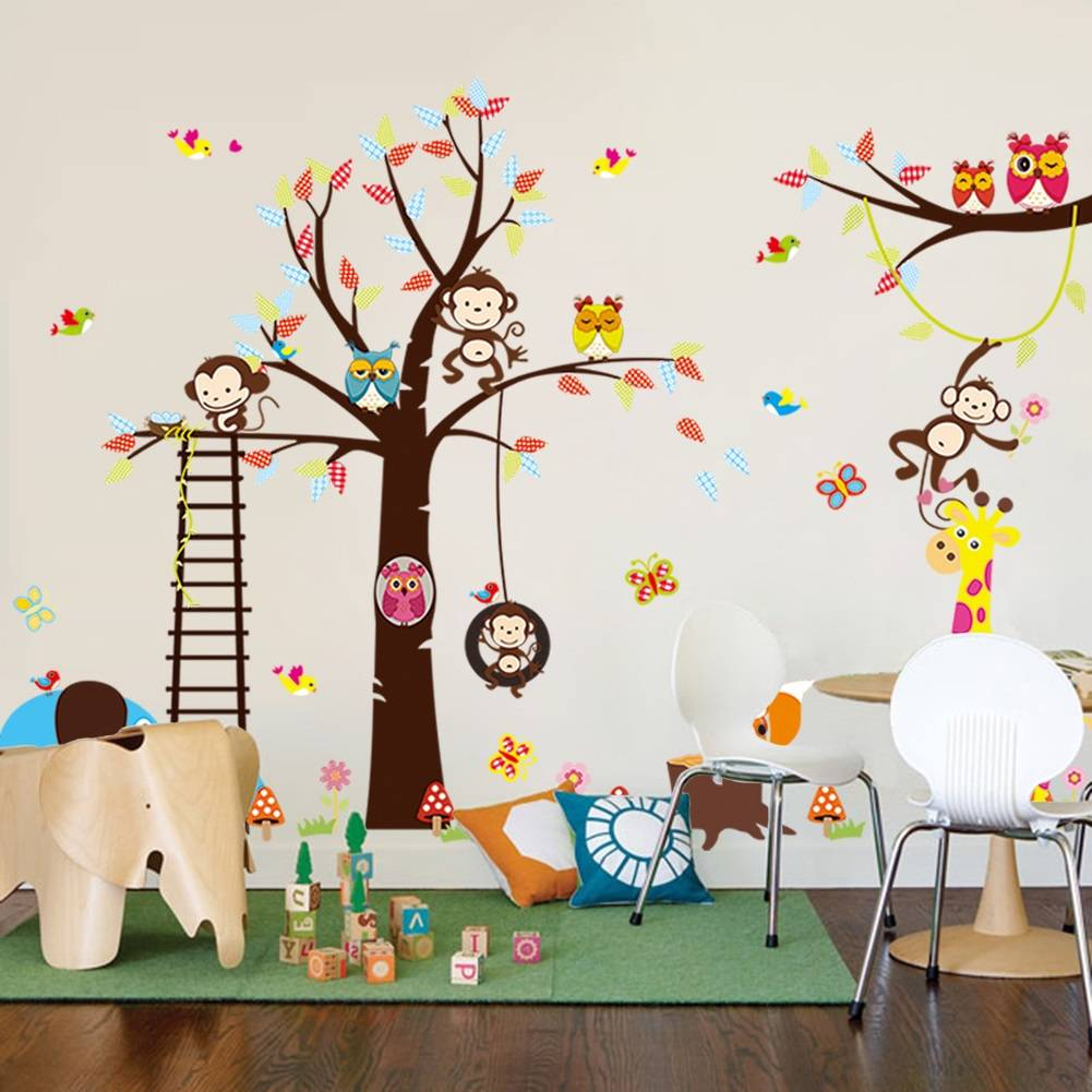 muursticker boom aap uil diertjes- muurstickers babykamer, Deco ideeën