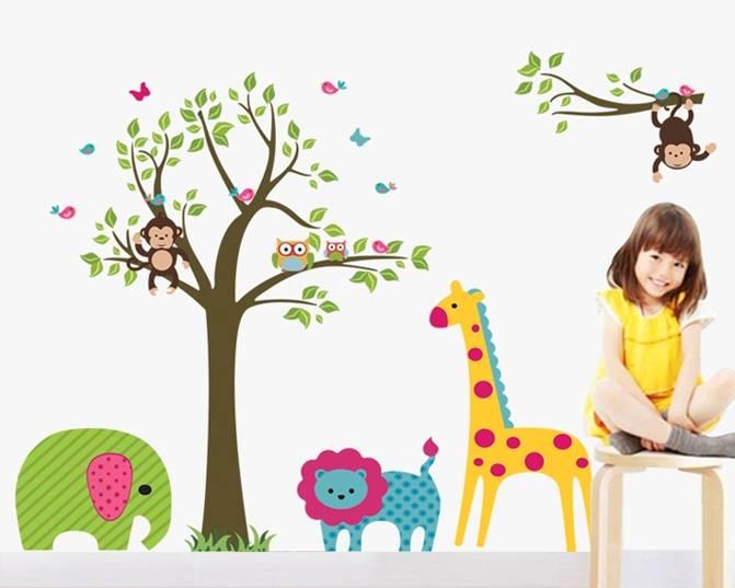 Muurstickers Kinderkamer Jungle : Muursticker keurrijke jungle ...