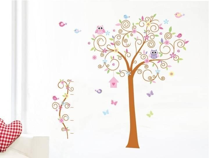 muursticker sierlijke boom uil, vogels vlinders - muurstickers&zo, Deco ideeën