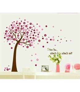 Muursticker roze bloesemboom