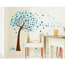 Muursticker blauwe bloesemboom