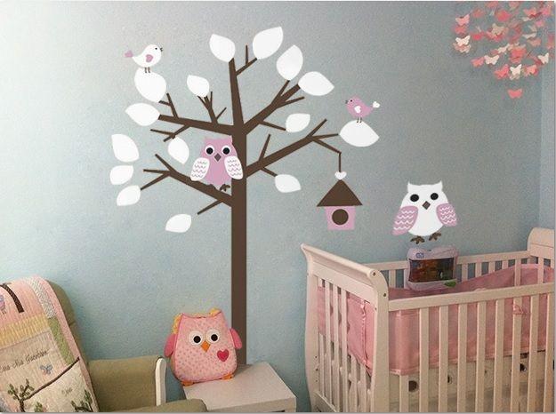 muursticker boom met uil wit- roze - muurstickers&zo, Deco ideeën