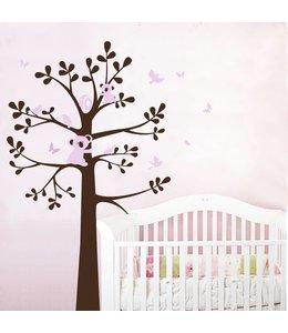 Muursticker boom koala beertjes bruin roze