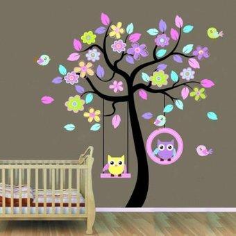 muursticker boom met schommelende uiltjes - kinderkamer babykamer, Deco ideeën