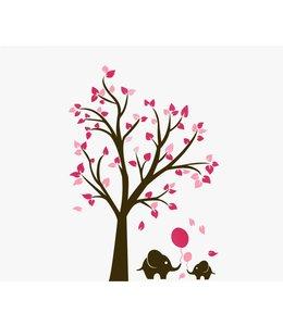 Muursticker bruine boom met roze blaadjes en olifantjes